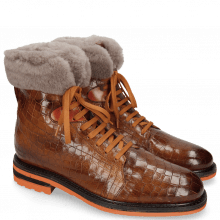 Enkellaarzen Trevor 19 Crock Wood Winter Orange Short Fur Taupe