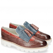 Loafers Selina 3 Pisa Wine Perfo Ruby Soft Patent White