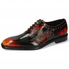 Oxford schoenen Clark 6 Brush Off Black Lasercut Dragon Rivets