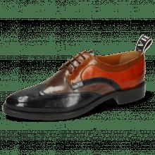Derby schoenen Betty 16 Navy Deep Steel Wood Winter Orange