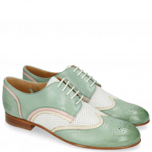 Derby schoenen Sally 15 Verona Tropical Sea Ivory Nappa Perfo White