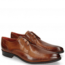 Derby schoenen Toni 1 Lizzard Tan Lining Red