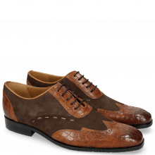 Oxford schoenen Rico 18 Venice Crock Wood Suede Pattini Dark Brown