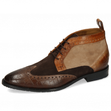 Enkellaarzen Victor 7 Venice Crock Dark Brown Wood Tortora Suede Pattini Roccia