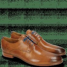 Derby schoenen Clint 1 Perfo Tan Decor Piece Electric Blue