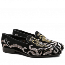 Loafers Prince 2 Suede Black Embrodery Metalic LS