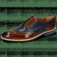 Derby schoenen Bobby 1 Croco Wood Perfo Marine Dice