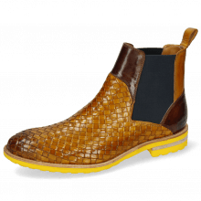 Enkellaarzen Brad 9 Woven Indy Yellow Mid Brown Elastic Navy
