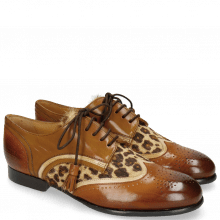 Derby schoenen Sally 15 Wood Nude Hairon Leo Tobacco Laces Tassel