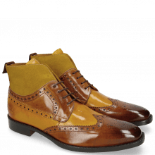 Enkellaarzen Jeff 34 Cognac Yellow Dark Finishing Sand Suede Pattini Mastic