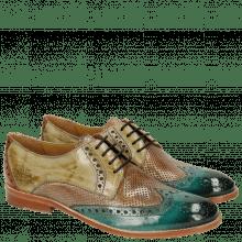 Derby schoenen Amelie 3 Sweet Water Perfo Powder Verde Chiaro Arancio