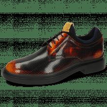 Derby schoenen Ron 1 Brush Off Perfo Yellow Orange Black