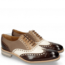 Oxford schoenen Tom 26 Dark Brown White Oxygen Canvas Taupe