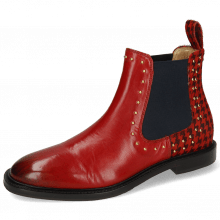 Enkellaarzen Katrin 3 Ruby Hairon Tweed Black Red Rivets