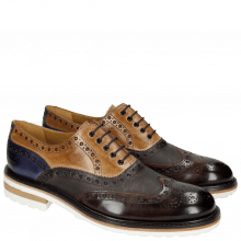 Oxford schoenen Trevor 1 Classic Dark Brown Tortora Cobalt Kudu Wax Wine Crip White