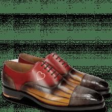 Oxford schoenen Kylian 1 Crock Stone Ocra Lines Stone Red