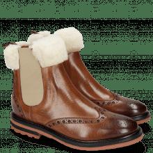 Enkellaarzen Amelie 63 Wood Full Fur Lining Beige