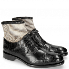Enkellaarzen Patrick 4 Crock Black Hairon Stripes
