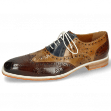 Oxford schoenen Jeff 28 Mid Brown Bamboo Navy Sand Wood