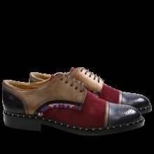 Derby schoenen Sally 40 Nappa Aztek Suede Patent Korela Navy Bronze Burgundy HRS