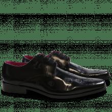 Derby schoenen Mark 5 Brush Black Lasercut Skull New HRS