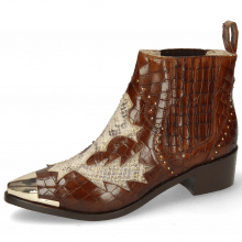Enkellaarzen May 5  Crock Mid Brown Snake Rivets Gold