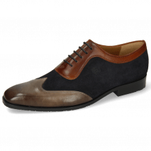 Oxford schoenen Rico 8 Rio Stone Suede Pattini Perfo Navy Mid Brown