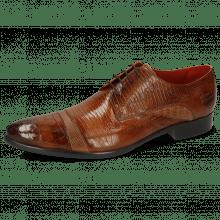 Derby schoenen Toni 39 Crock Wood Dice Tortora Guanna Tan Ostrich Baby Croco Lizzard