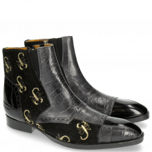 Enkellaarzen Ricky 11 Big Croco Patent Suede London Fog Black Embrodery Gold Scorpion