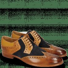 Derby schoenen Clint 19 Tan Nubuck Perfo Deep Navy