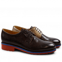 Derby schoenen Amelie 9 Phyton Dark Brown Nappa Aztek Bronze Rook D Red EVA Blue