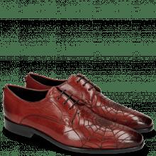Derby schoenen Emma 7 Ruby Lasercut Spider Rivets Skull
