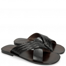 Muiltjes Sam 23 Woven Black Lining Dark Brown