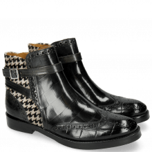 Enkellaarzen Amelie 11 Turtle Petrol Hairon Tweed Black White