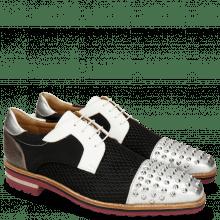 Derby schoenen Lance 46 Cherso Silver Net Black Milled White