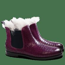 Enkellaarzen Susan 10 Crock Eggplant Fur Lining Taupe Elastic Navy HRS