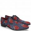 Derby schoenen Toni 1 Suede Check Navy Embroidery Roses
