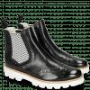 Enkellaarzen Selina 6  Perfo Black Elastic Zigzag White