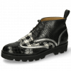 Enkellaarzen Sally 30 Crock Black Nappa Aztek Silver Textile Tweed Black White