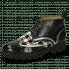 Enkellaarzen Sally 30 Crock Black Nappa Aztek Silver Textile Tweed Black White