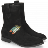 Enkellaarzen Jessy 29 Oily Suede Black Embrodery Feather