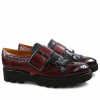 Monks Amelie 52 Burgundy Kilty Black Buckle Gunmetal 543 Black