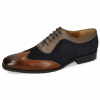 Oxford schoenen Rico 8 Rio Mid Brown Suede Pattini Perfo Navy Stone