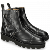 Enkellaarzen Susan 45 Black Textile Camo Metallic Blue Loop Rivet