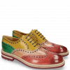 Oxford schoenen Trevor 1 Rich Red Sun Electric Green Laces Navy