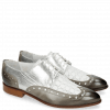 Derby schoenen Jessy 38 Grigio Nappa Perfo Metal Silver
