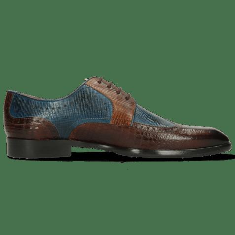 Derby schoenen Elyas 2 Baby Croco Mid Brown Haina Blue