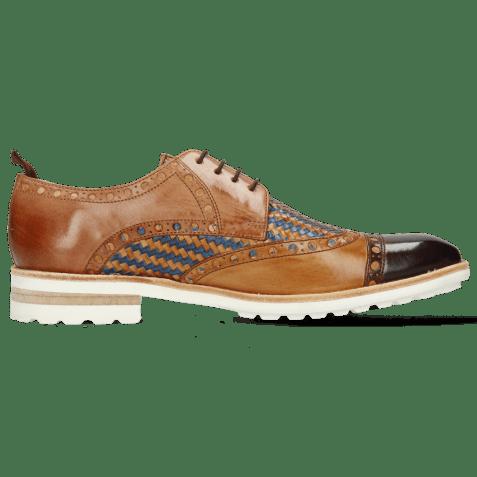 Derby schoenen Eddy 48 Mid Brown Tan Haring Bone Weave