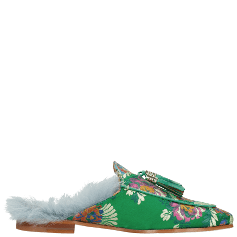 Muiltjes Scarlett 2 Korela Green Fur Lining Turquoise Tassel Green Orange