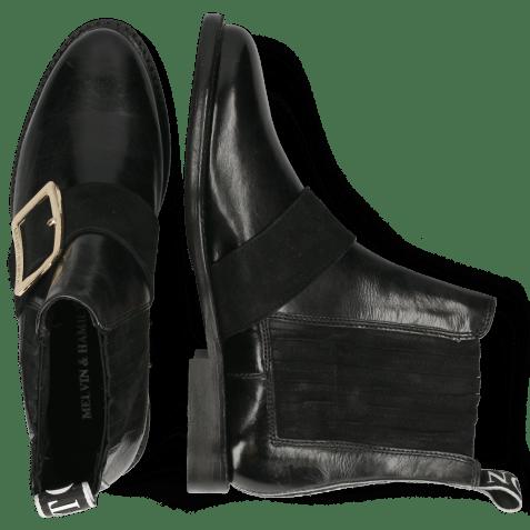 Enkellaarzen Selina 46 Black Suede Strap Gold